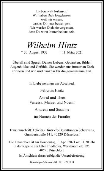 Traueranzeige von Wilhelm Hintz von Rheinische Post