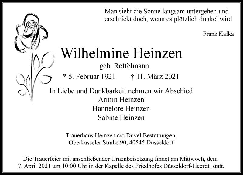 Traueranzeige für Wilhelmine Heinzen vom 27.03.2021 aus Rheinische Post