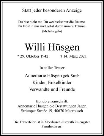Traueranzeige von Willi Hüsgen von Rheinische Post
