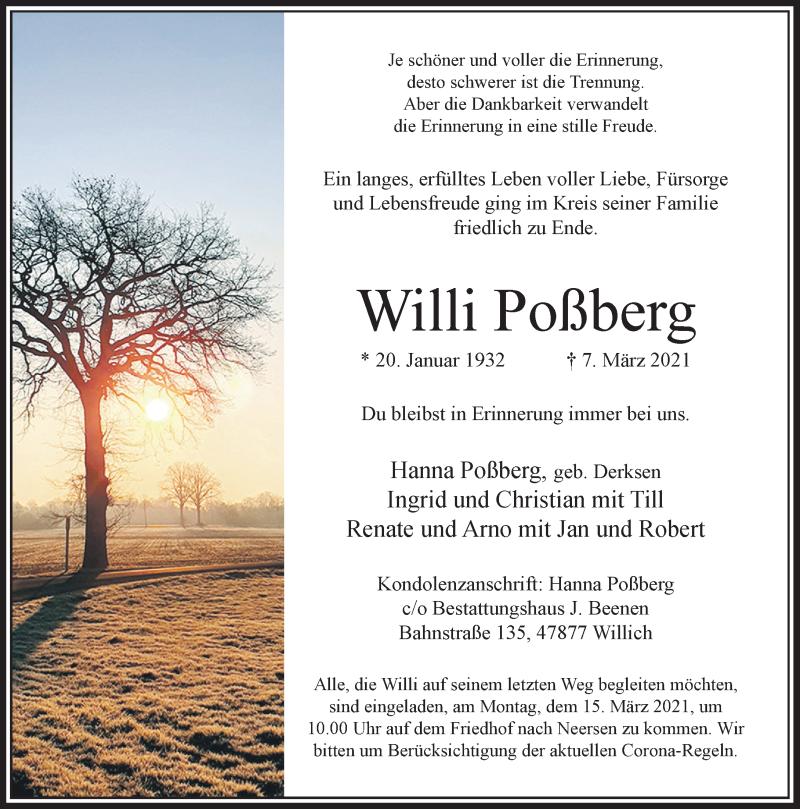 Traueranzeige für Willi Poßberg vom 13.03.2021 aus Rheinische Post