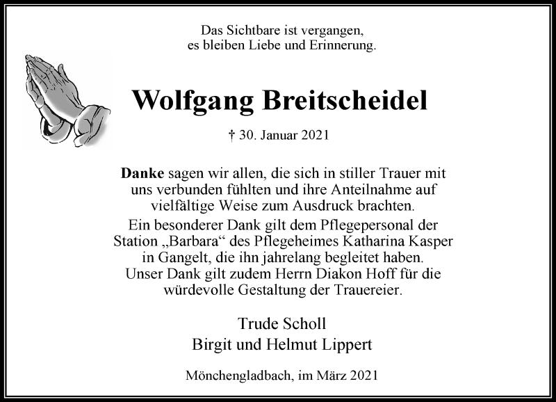Traueranzeige für Wolfgang Breitscheidel vom 13.03.2021 aus Rheinische Post