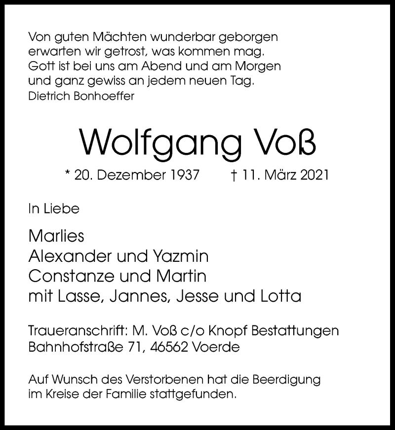 Traueranzeige für Wolfgang Voß vom 24.03.2021 aus Rheinische Post