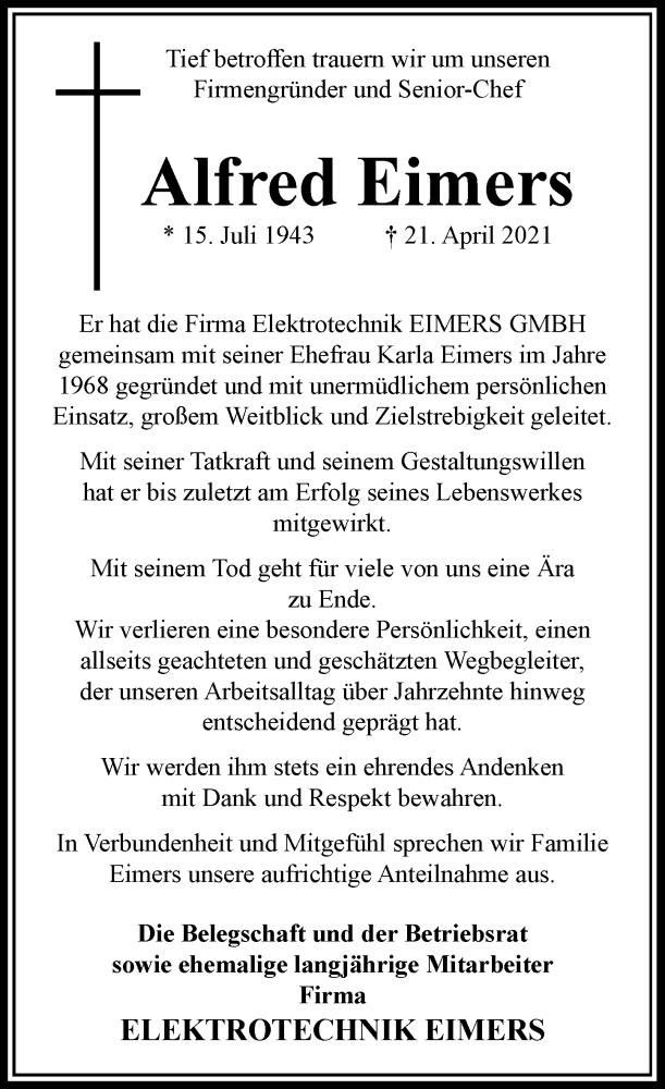 Traueranzeige für Alfred Eimers vom 29.04.2021 aus Rheinische Post