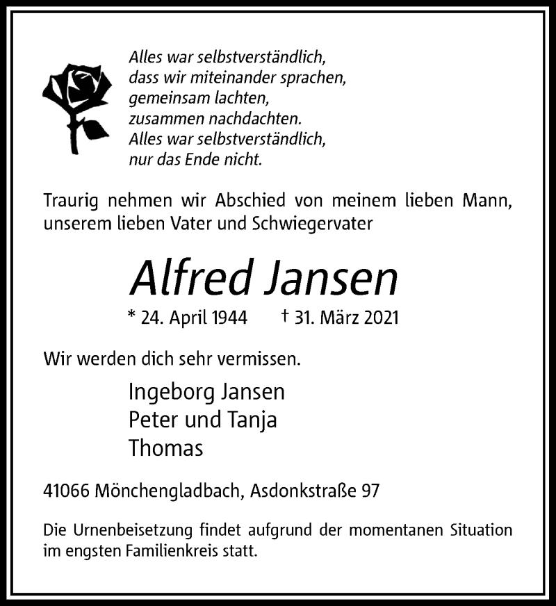 Traueranzeige für Alfred Jansen vom 10.04.2021 aus Rheinische Post