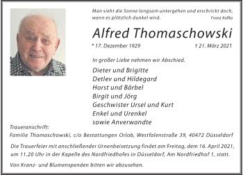 Traueranzeige von Alfred Thomaschowski von Rheinische Post