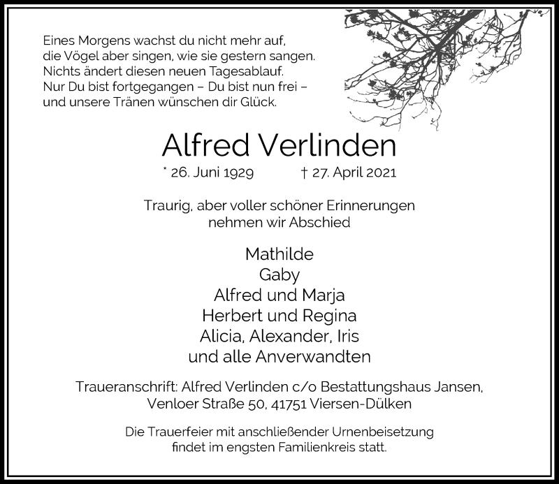 Traueranzeige für Alfred Verlinden vom 08.05.2021 aus Rheinische Post