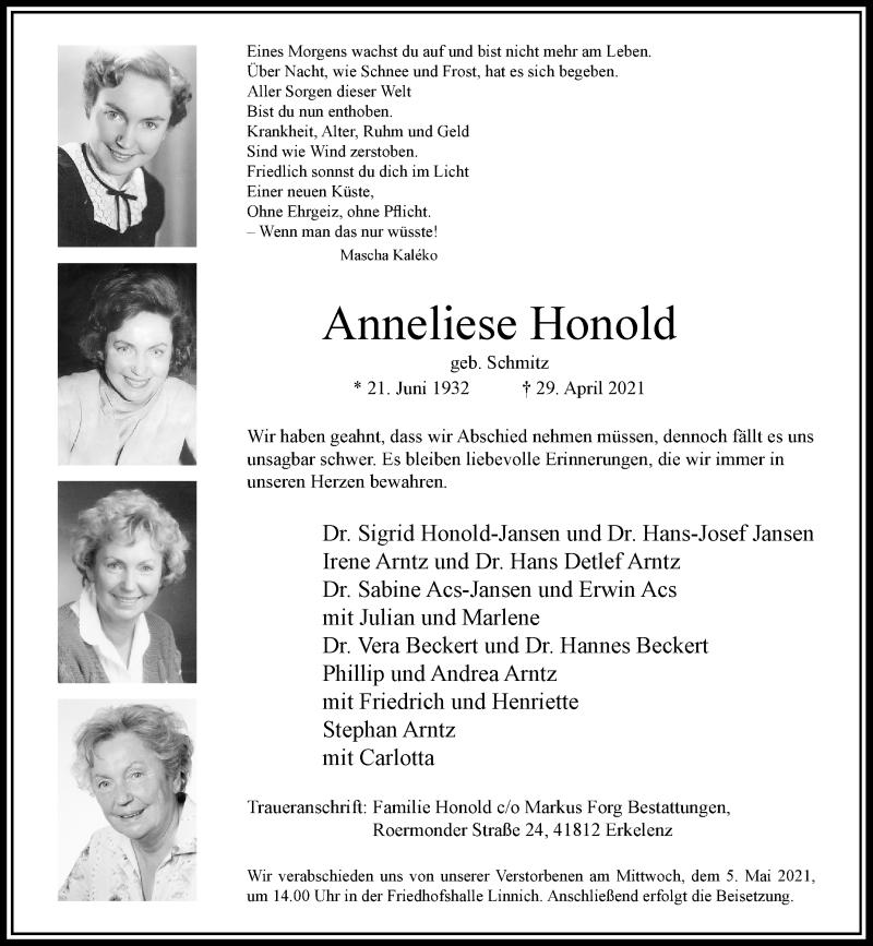 Traueranzeige für Anneliese Honold vom 01.05.2021 aus Rheinische Post