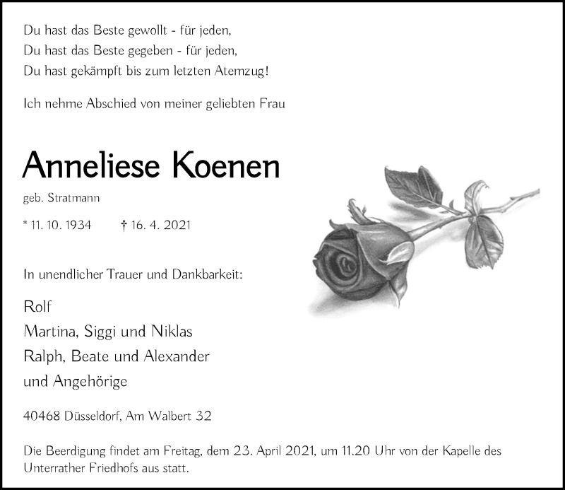 Traueranzeige für Anneliese Koenen vom 17.04.2021 aus Rheinische Post