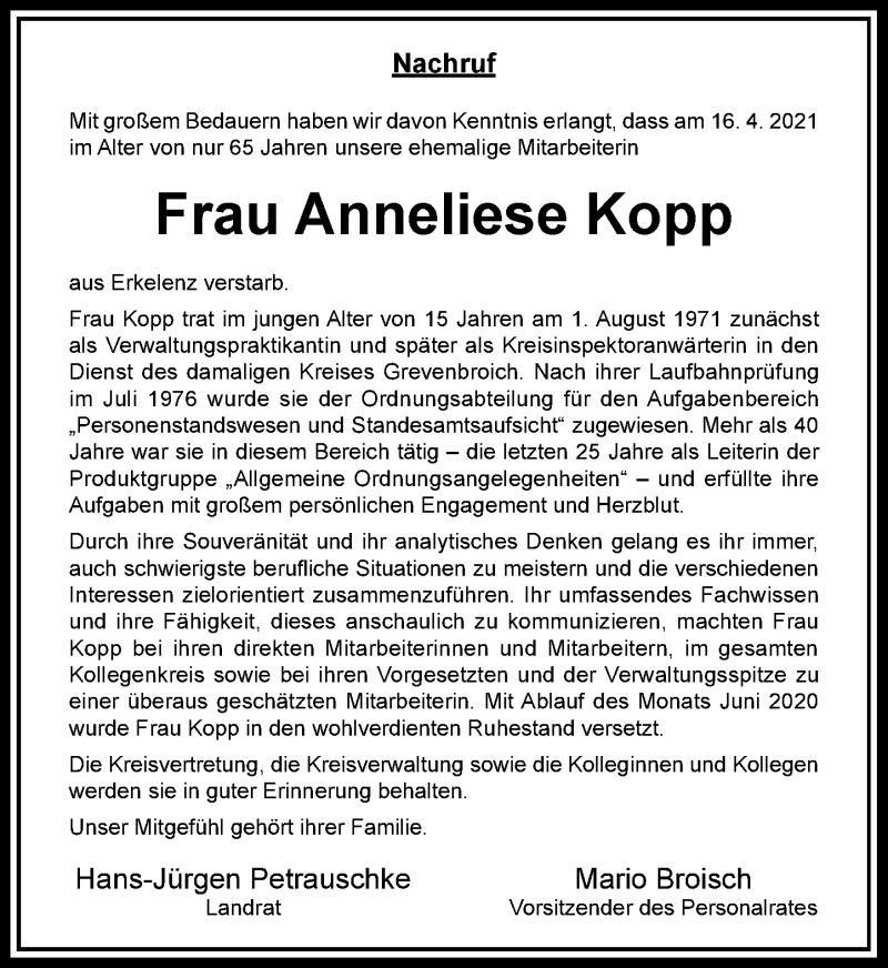 Traueranzeige für Anneliese Kopp vom 29.04.2021 aus Rheinische Post