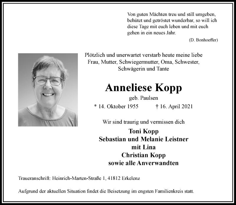 Traueranzeige für Anneliese Kopp vom 24.04.2021 aus Rheinische Post