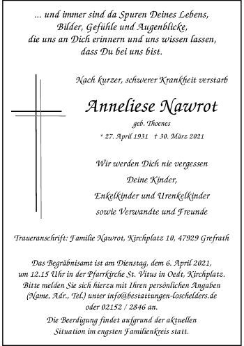 Traueranzeige von Anneliese Nawrot von Rheinische Post