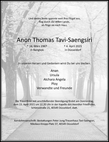 Traueranzeige von Anon Thomas TAvi-Saengsiri von Rheinische Post