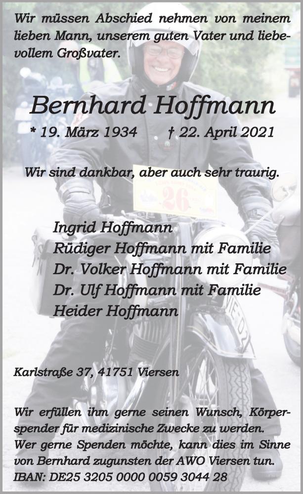 Traueranzeige für Bernhard Hoffmann vom 01.05.2021 aus Rheinische Post