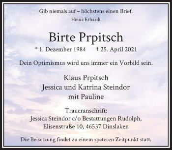 Traueranzeige von Birte Prpitsch von Rheinische Post