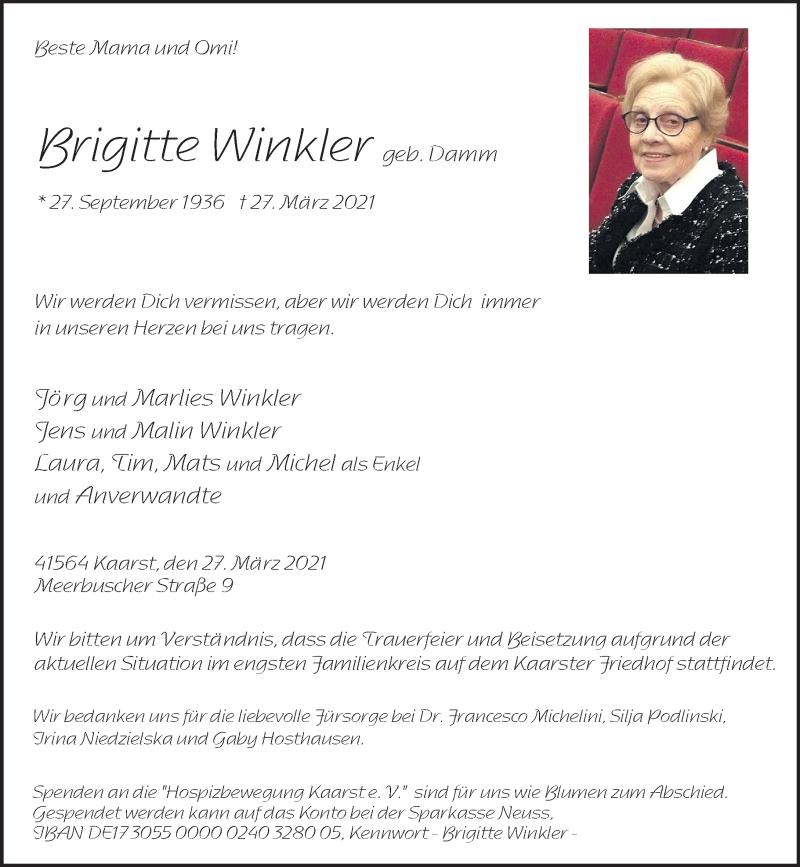 Traueranzeige für Brigitte Winkler vom 07.04.2021 aus Rheinische Post