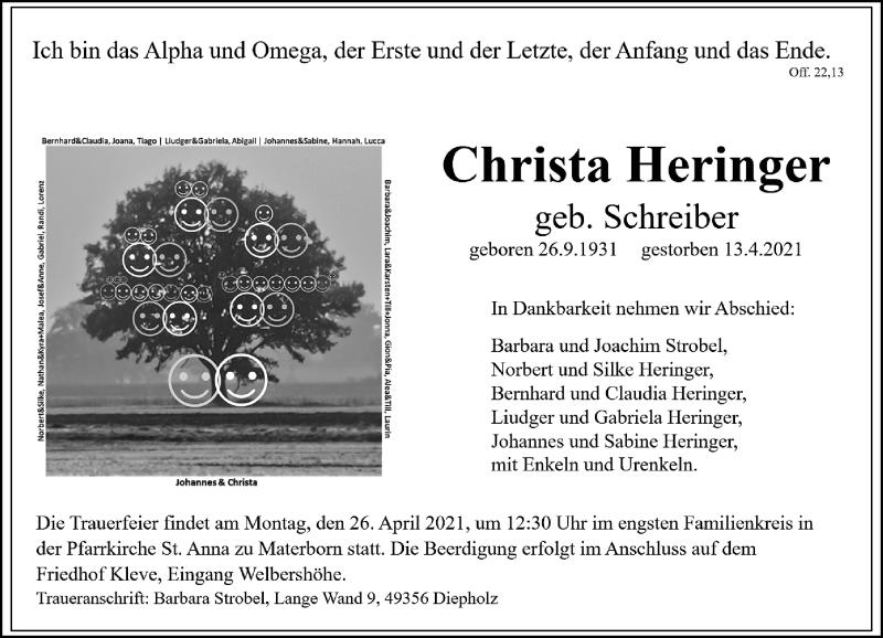 Traueranzeige für Christa Heringer vom 17.04.2021 aus Rheinische Post