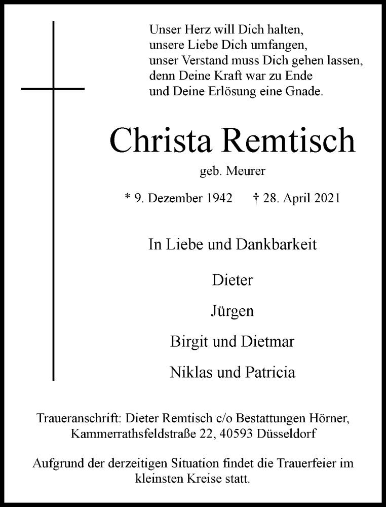 Traueranzeige für Christa Remtisch vom 03.05.2021 aus Rheinische Post