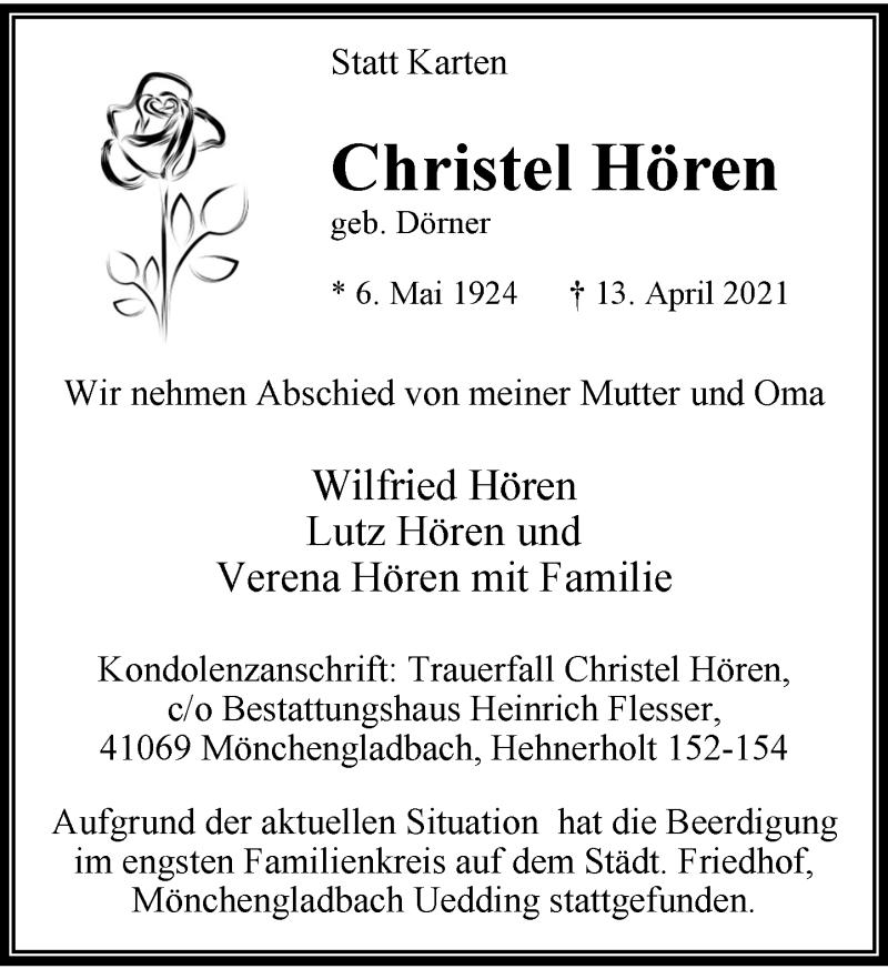 Traueranzeige für Christel Hören vom 24.04.2021 aus Rheinische Post
