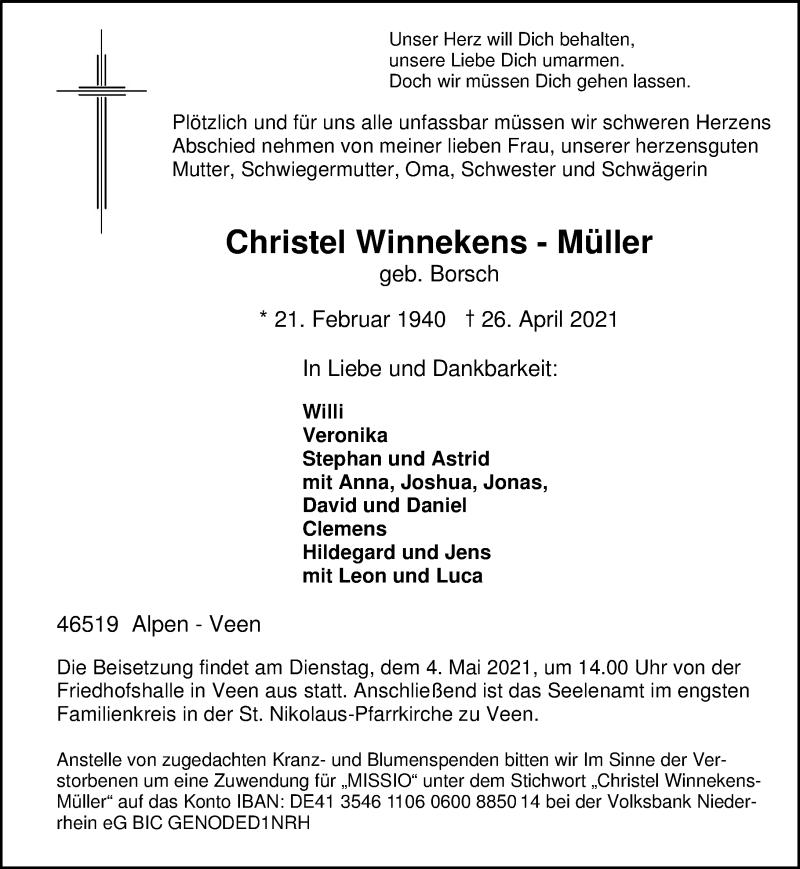 Traueranzeige für Christel Winnekens-Müller vom 30.04.2021 aus Rheinische Post