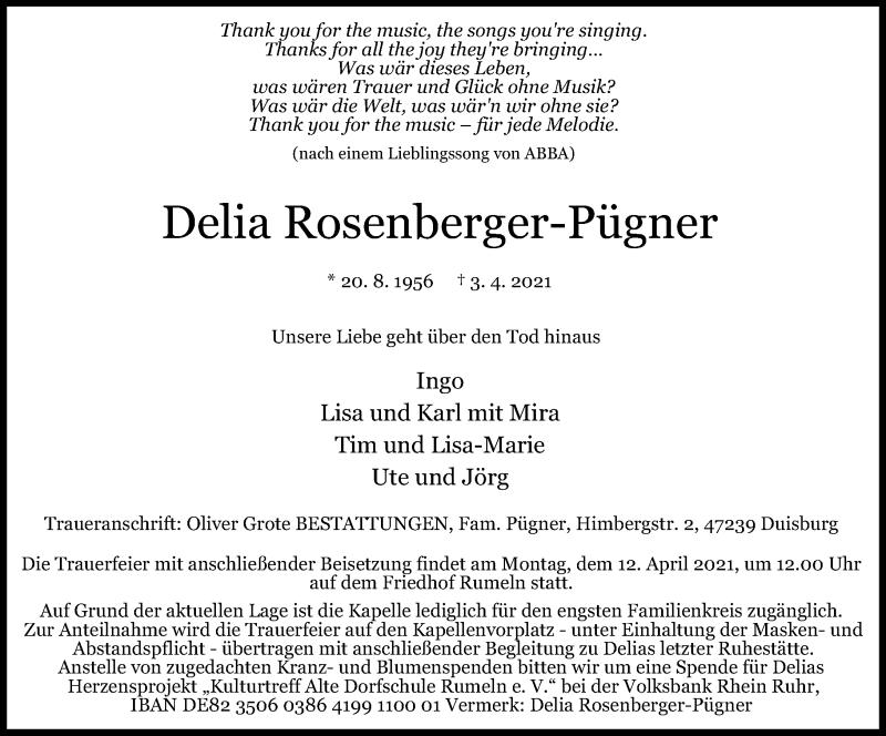 Traueranzeige für Delia Rosenberger-Pügner vom 08.04.2021 aus Rheinische Post