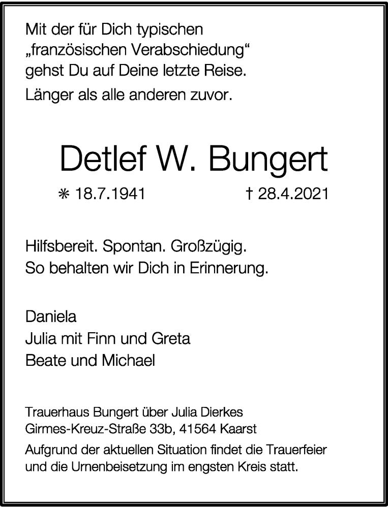 Traueranzeige für Detlef W. Bungert vom 01.05.2021 aus Rheinische Post
