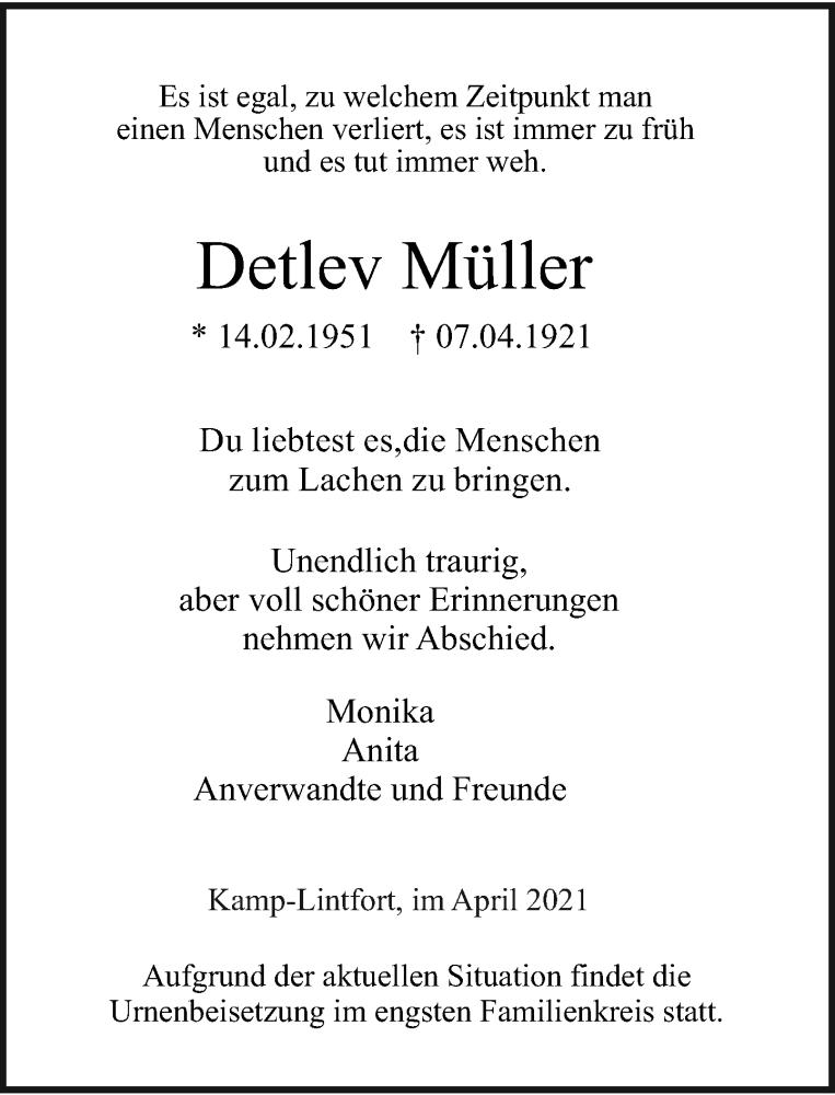 Traueranzeige für Detlev Müller vom 17.04.2021 aus Rheinische Post