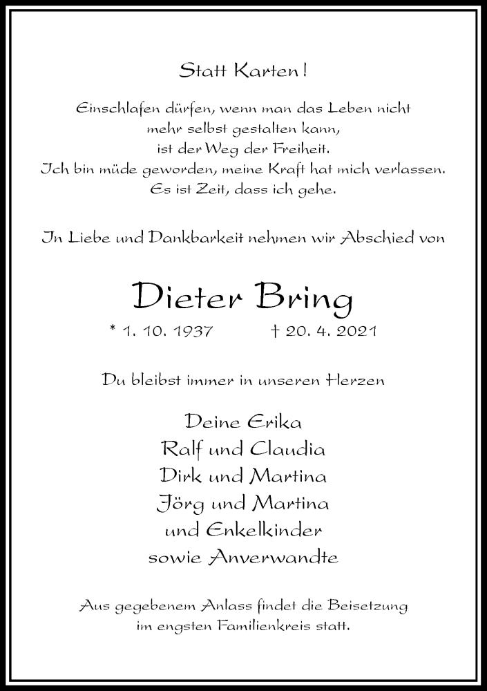 Traueranzeige für Dieter Bring vom 21.04.2021 aus Rheinische Post