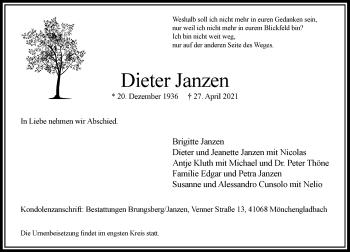 Traueranzeige von Dieter Janzen von Rheinische Post