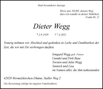 Traueranzeige von Dieter Wegg von Rheinische Post