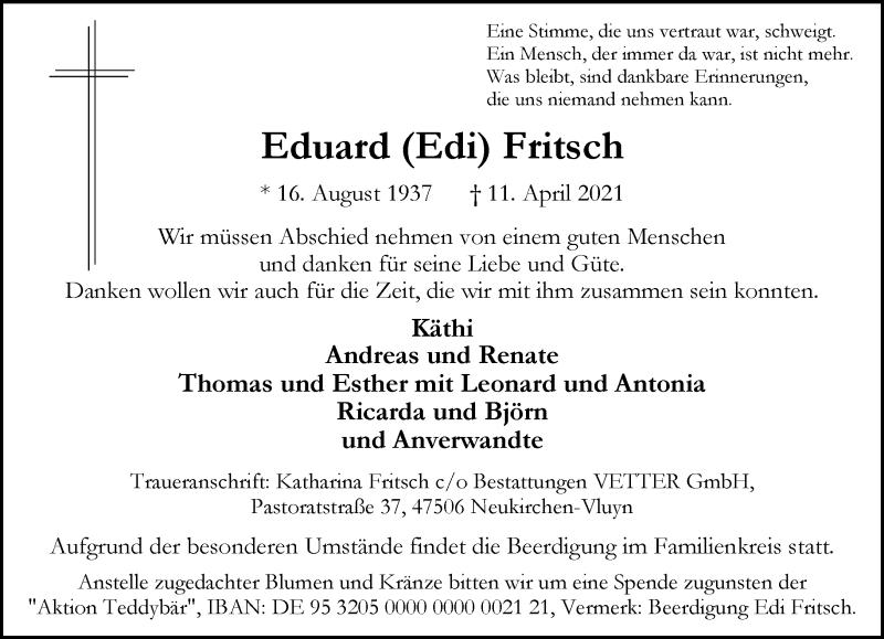 Traueranzeige für Eduard Fritsch vom 14.04.2021 aus Rheinische Post
