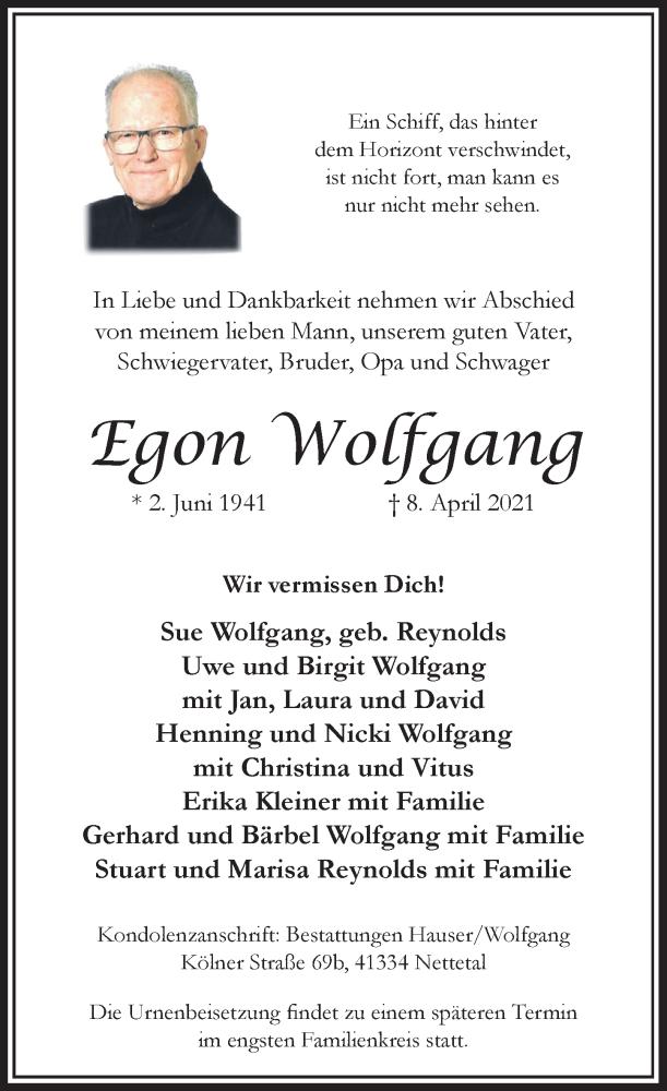 Traueranzeige für Egon Wolfgang vom 10.04.2021 aus Rheinische Post