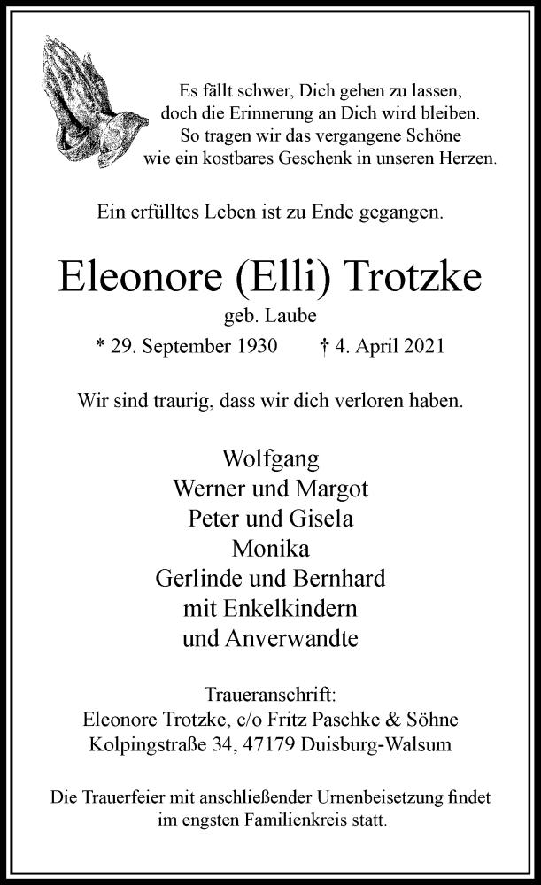 Traueranzeige für Eleonore Trotzke vom 24.04.2021 aus Rheinische Post