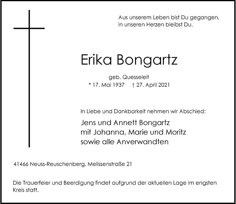 Traueranzeige für Erika Bongartz vom 01.05.2021 aus Rheinische Post