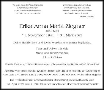 Traueranzeige von Erika Anna Maria von Rheinische Post