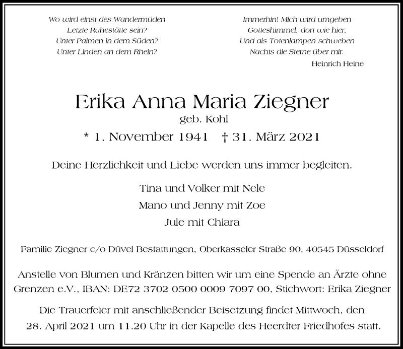 Traueranzeige für Erika Anna Maria vom 10.04.2021 aus Rheinische Post
