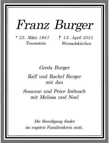 Traueranzeige von Franz Burger von Rheinische Post