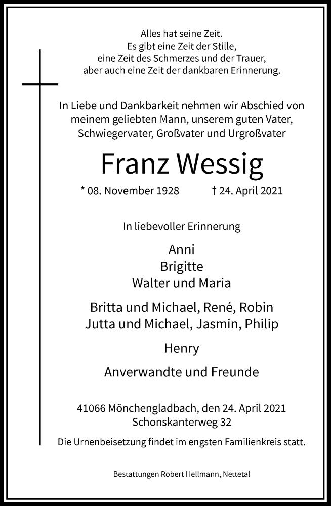 Traueranzeige für Franz Wessig vom 01.05.2021 aus Rheinische Post