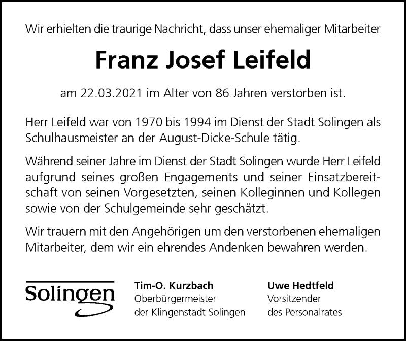 Traueranzeige für Franz Josef Leifeld vom 10.04.2021 aus Rheinische Post