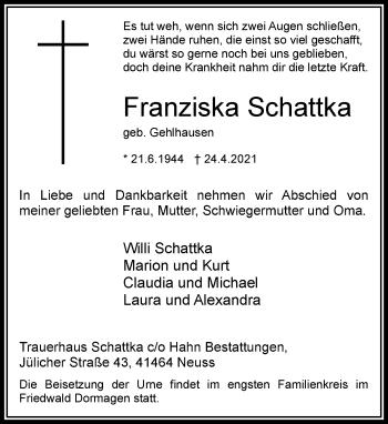 Traueranzeige von Franziska Schattka von Rheinische Post