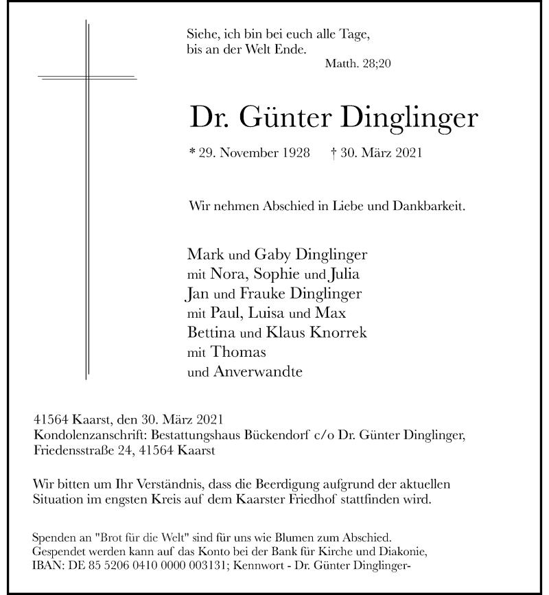 Traueranzeige für Günter Dinglinger vom 03.04.2021 aus Rheinische Post