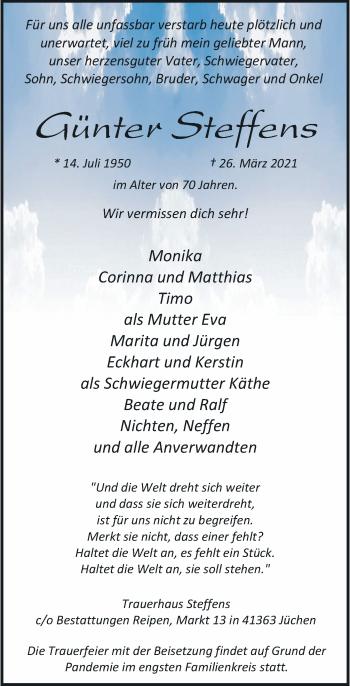 Traueranzeige von Günter Steffens von Rheinische Post