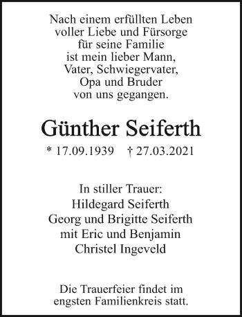 Traueranzeige von Günther Seiferth von Rheinische Post