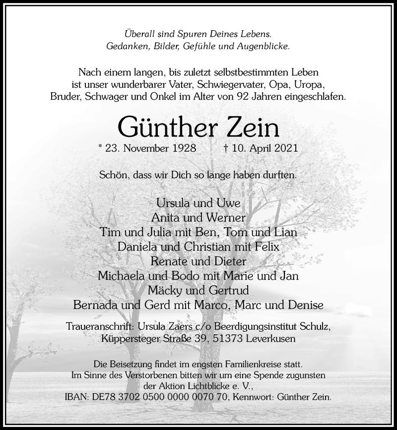 Traueranzeige für Günther Zein vom 17.04.2021 aus Rheinische Post