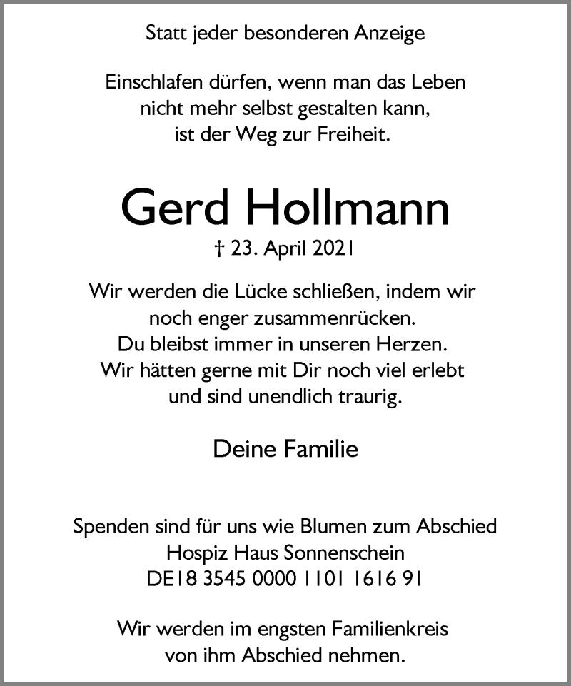 Traueranzeige für Gerd Hollmann vom 28.04.2021 aus Rheinische Post