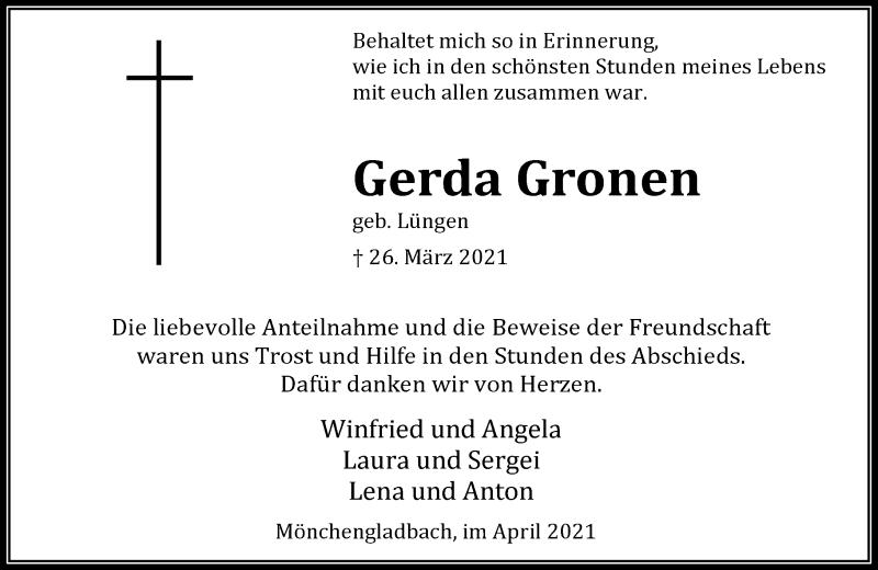 Traueranzeige für Gerda Gronen vom 17.04.2021 aus Rheinische Post