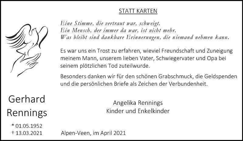 Traueranzeige für Gerhard Rennings vom 30.04.2021 aus Rheinische Post