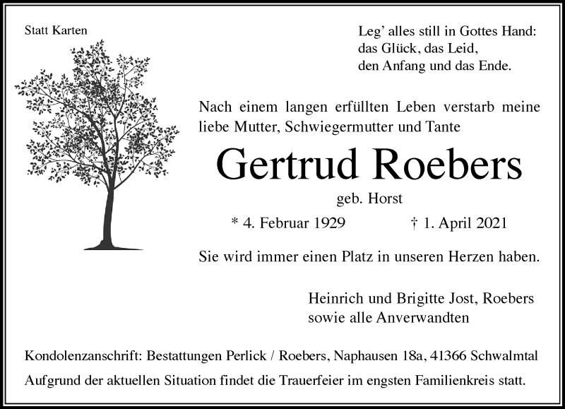 Traueranzeige für Gertrud Roebers vom 10.04.2021 aus Rheinische Post