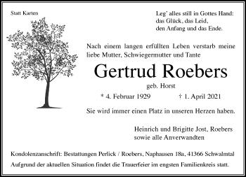 Traueranzeige von Gertrud Roebers von Rheinische Post