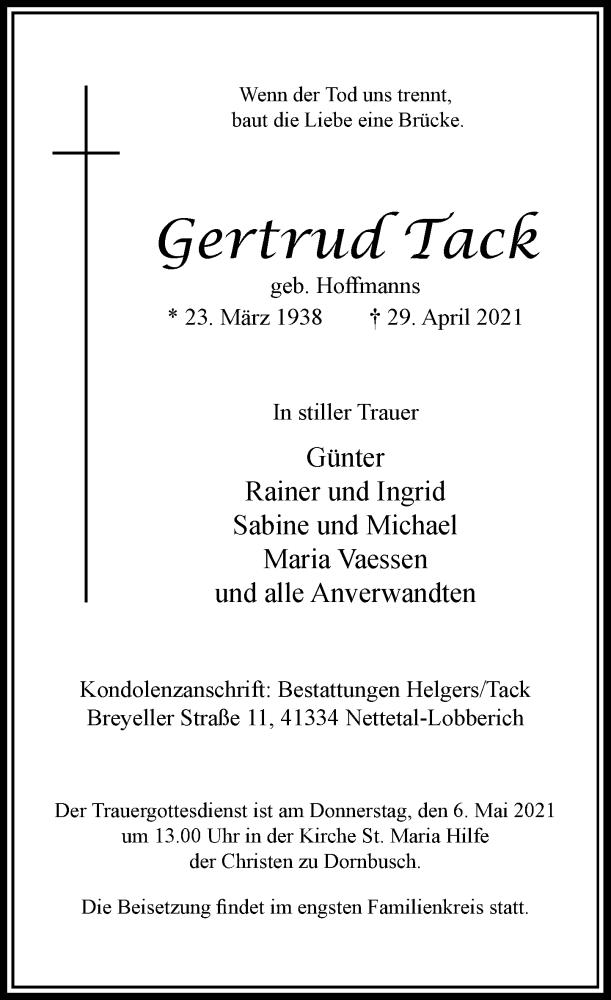 Traueranzeige für Gertrud Tack vom 01.05.2021 aus Rheinische Post