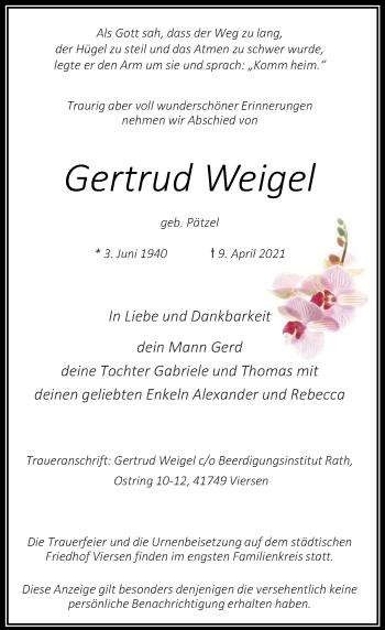 Traueranzeige von Gertrud Weigel von Rheinische Post